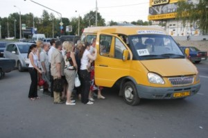 A slightly less dignified form of transport - the notion of a queue is a very foreign concept on a marshrutka
