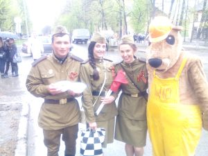 Students from Tyumen State Oil and Gas University in military uniform - and a mascot bear, of course
